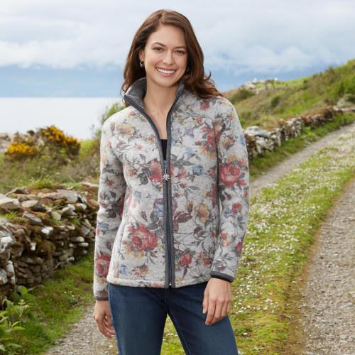 Italian Alps Floral Wool Blended Jacket 'Alpen Rose'