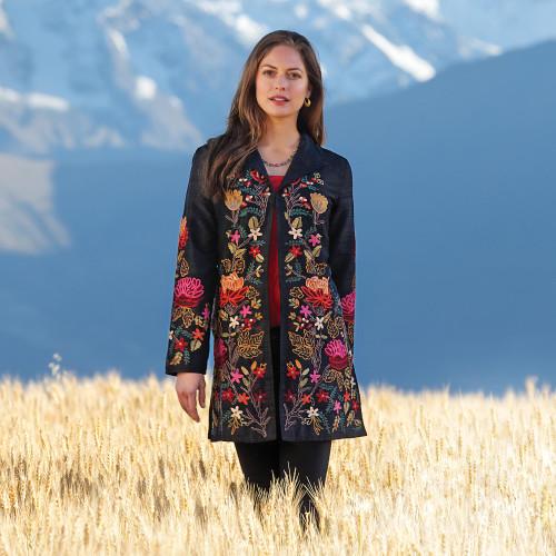 Himalayan Embroidered Silk Jacket 'Himalayan Meadow'