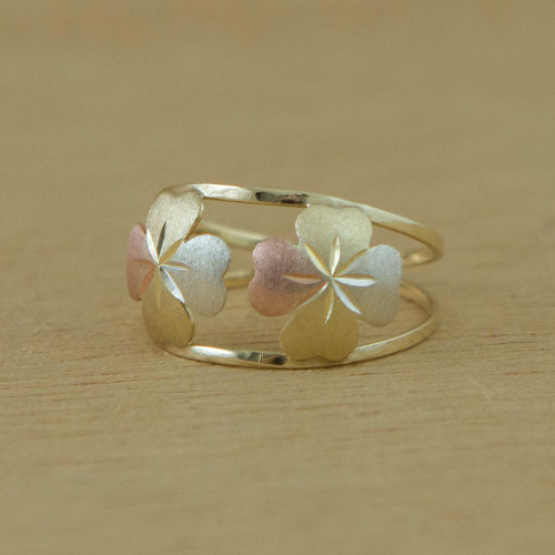 10k Gold Four-Leaf Clover Cocktail Ring from Brazil 'Good Luck Leaves'
