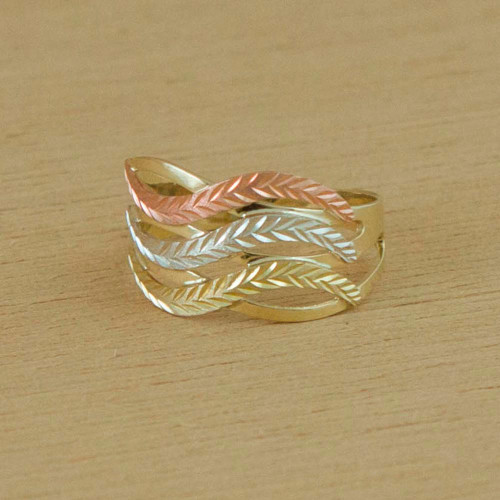 10k Gold Wave Motif Cocktail Ring from Brazil 'Tricolor Waves'