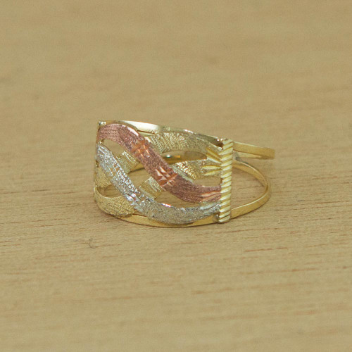 Artisan Crafted 10k Gold Cocktail Ring from Brazil 'Textured Waves'
