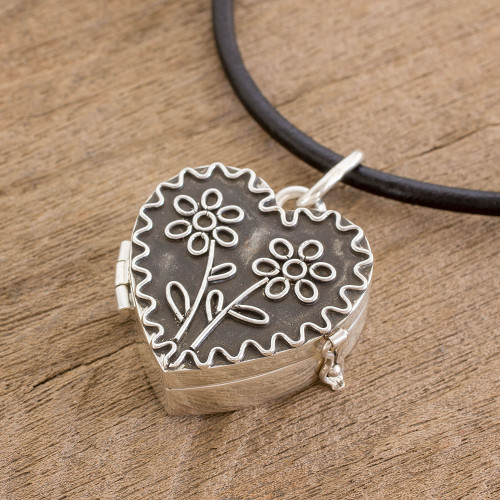 Heart-Shaped Sterling Silver Locket Necklace from Guatemala 'Protected by Love'