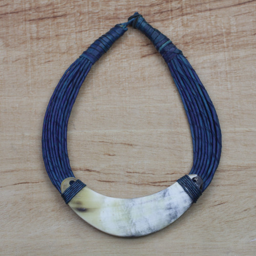 Crescent-Shaped Horn Pendant Necklace with Blue Leather Cord 'Sida'