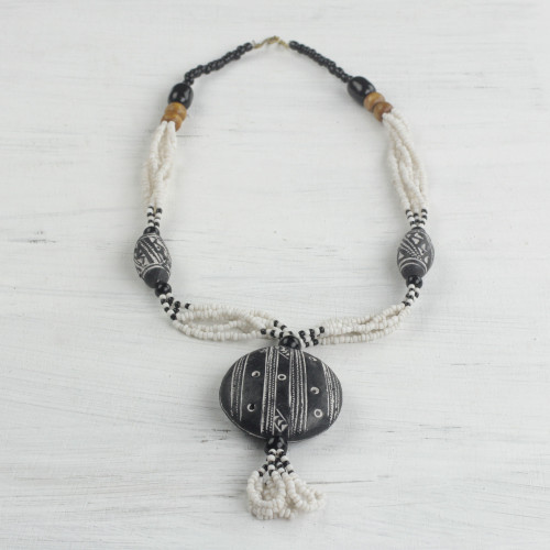 Ceramic and Glass Beaded Pendant Necklace from Ghan 'Terracotta Queen'