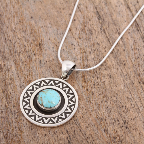 Zigzag Motif Turquoise Pendant Necklace from Mexico 'Zigzag Corona'