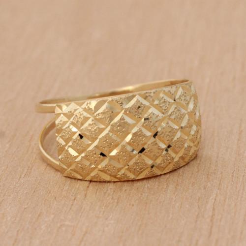 Diamond Motif 10k Gold Cocktail Ring from Brazil 'Gleaming Mesh'