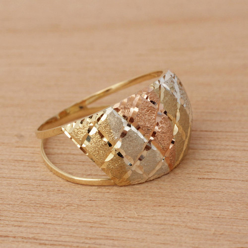 Tricolor 10k Gold Cocktail Ring from Brazil 'Tricolor Diamonds'