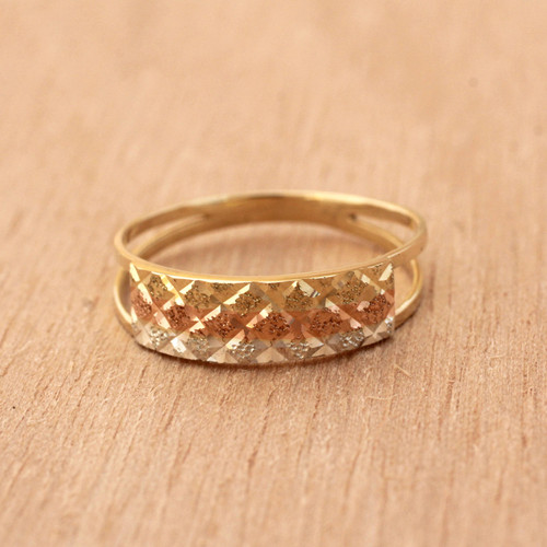 Tricolor Diamond Motif Gold Band Ring from Brazil 'Tricolor Constellation'