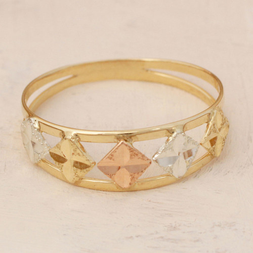 Square Motif 10k Gold Band Ring from Brazil 'Five Stars'