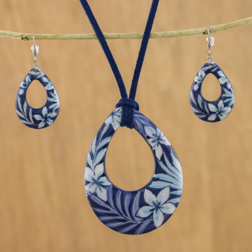 Ceramic Blue Floral Pendant Necklace Dangle Earrings Set 'Flying Flowers'
