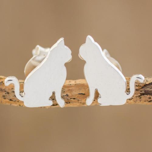 Handcrafted Sterling Silver Attentive Cat Button Earrings 'Festive Feline'