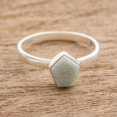 Pale Green Jade Pentagon and Sterling Silver Cocktail Ring 'Striking in Pale Green'