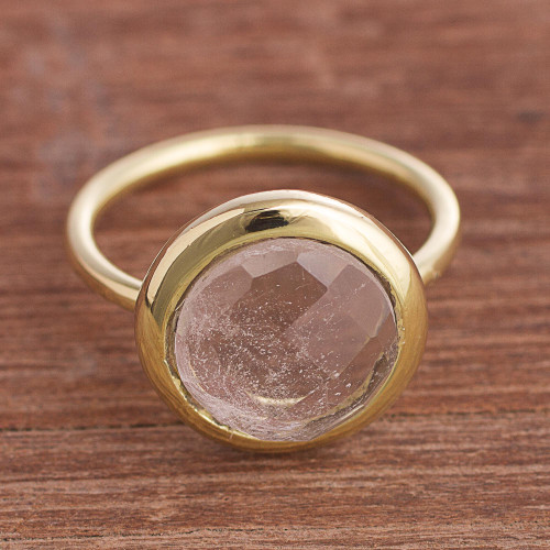 Gold Plated Quartz Single Stone Ring from Peru 'Magic Pulse'