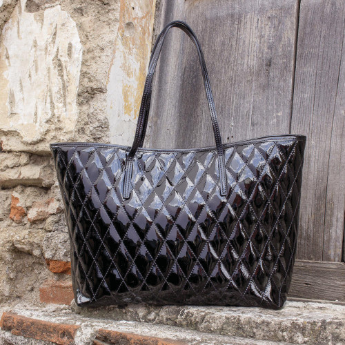 Quilted Black Patent Leather Tote Bag 'Via del Corso'