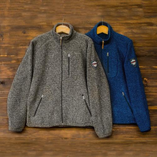 Men's Wool and Cotton Blend Zip Up Jacket 'Treviso Trek'