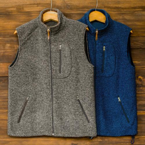 Men's Wool and Cotton Blend Zip Up Vest 'Treviso Trek'