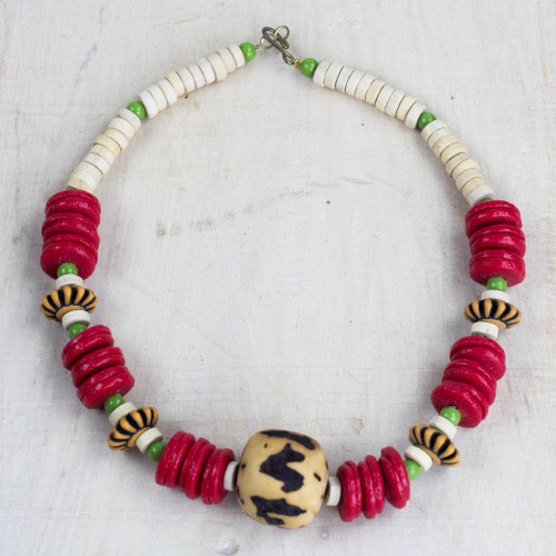 Handcrafted Recycled Glass and Sese Wood Beaded Necklace 'African Roots'