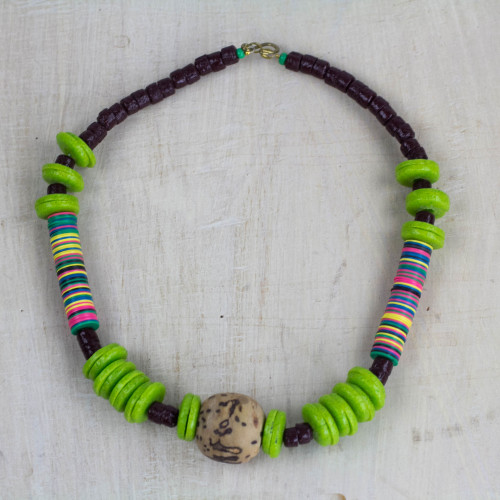Handcrafted Multi-Colored Recycled Glass Beaded Necklace 'Anyimunyam'