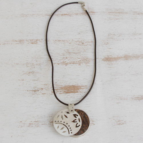 Silver and Wood Modern Pendant Necklace from Brazil 'Modern Spring'