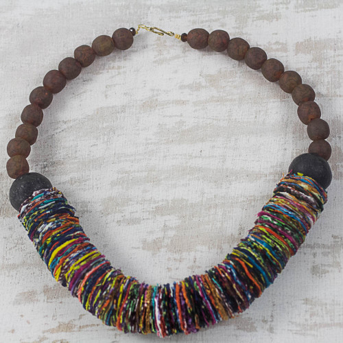 Rainbow Cotton Fabric and Recycled Glass Statement Necklace 'Rainbow Ruffle'