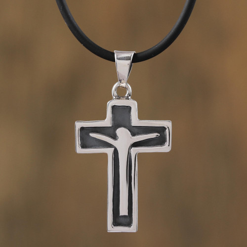 Men's Sterling Silver Crucifix Pendant Necklace from Mexico 'Profound Crucifix'