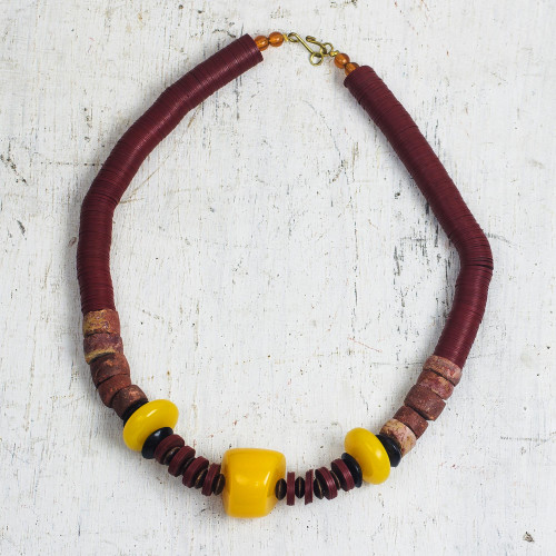 Wood and Recycled Plastic Beaded Necklace from Ghana 'Can't Lose You'