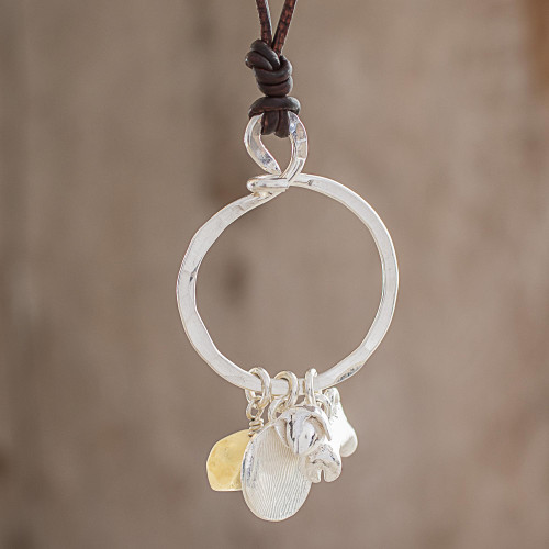Citrine and Fine Silver Dog Pendant Necklace from Guatemala 'Friendly Guardian'