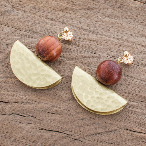 Handcrafted Hammered Brass and Wood Bead Dangle Earrings 'Playful Textures in Brass'