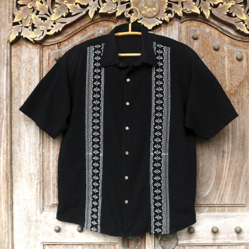 Peruvian Embroidered Guayabera Style Men's Shirt 'Peruvian Contrast'