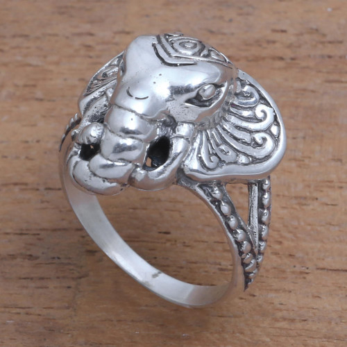 Sterling Silver Elephant Cocktail Ring from Bali 'Elephant King'