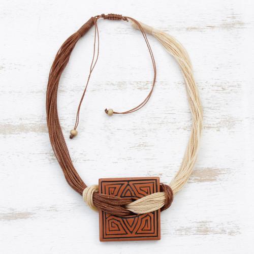 Labyrinth Motif Ceramic Pendant Necklace from Brazil 'Amazon Labyrinth'