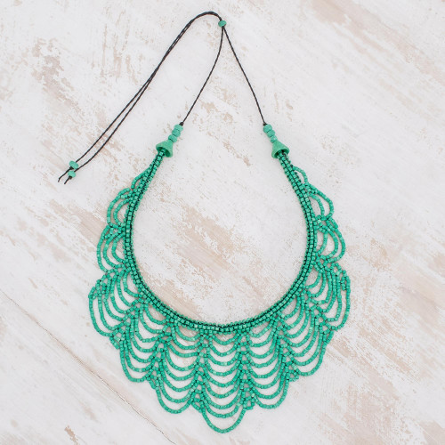 Green Ceramic Beaded Strand Necklace from Guatemala 'Calm Rain in Green'