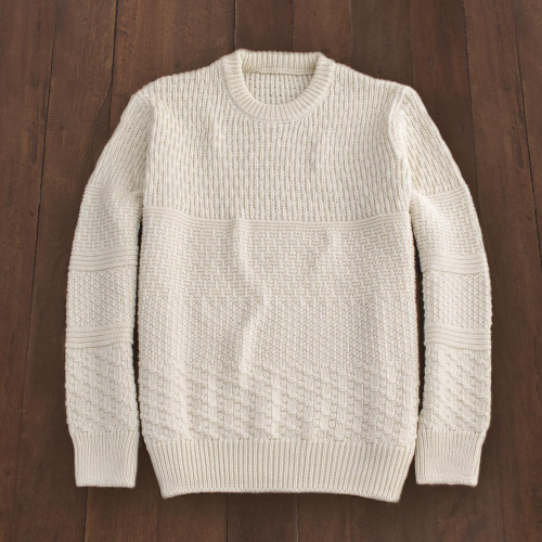 Men's Irish Textured Wool Sweater in Ivory 'Bremore'