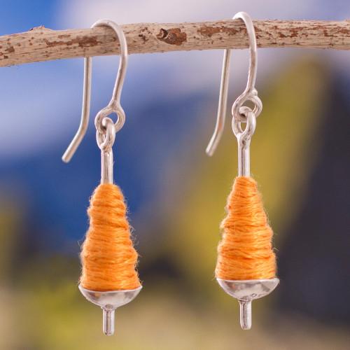Silver and Orange Cotton Dangle Earrings from Peru 'Orange Spools'