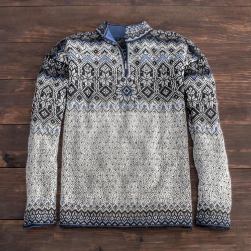 Men's Blue Patterned Alpaca Sweater 'Tarabuco Market'