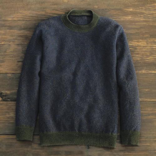 Brown Irish Birdseye Lambswool Crew Sweater 'Birdseye'