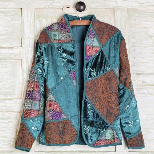 Embroidered Silk Blend Patchwork Jacket 'Patchwork'