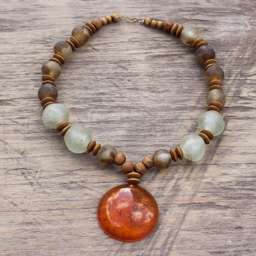 Beaded Pendant Necklace with Recycled Glass and Wood 'Eco Anonyam'