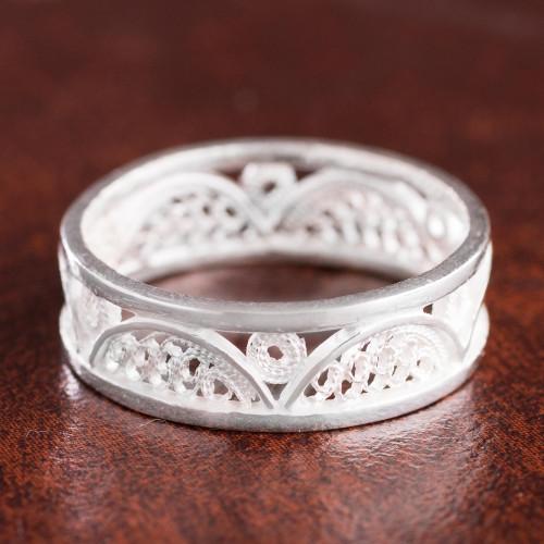 Arc Pattern Sterling Silver Filigree Band Ring from Peru 'Glistening Arcs'