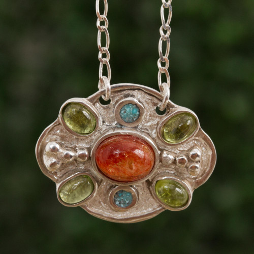Sunstone Peridot and Recon. Turquoise Necklace from Mexico 'Light of Summer'
