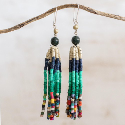 Dark Green Jade and Ceramic Beaded Waterfall Earrings 'Tradition and Custom'