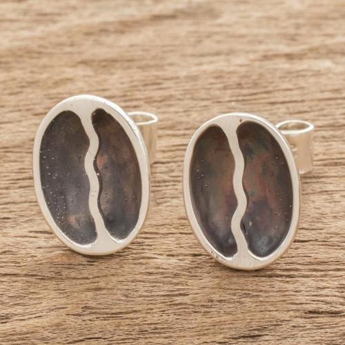 Sterling Silver Coffee Bean Dangle Earrings from Guatemala 'Rain of Coffee'