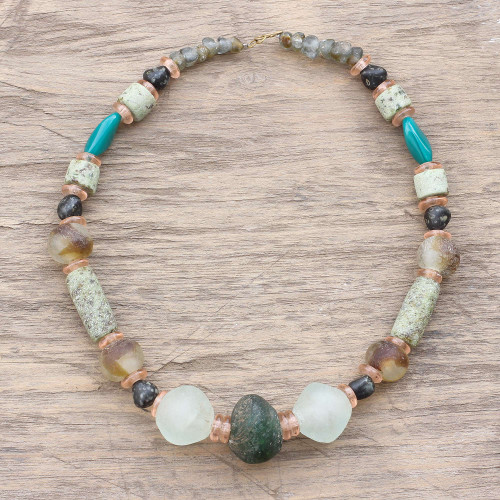 Recycled Glass Beaded Necklace Crafted in Ghana 'God's Earth'