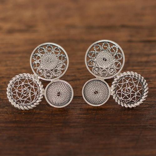 Circle Pattern Sterling Silver Filigree Drop Earrings 'Colonial Circles'
