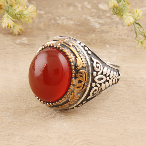 Red-Orange Onyx Domed Ring Crafted in India 'Fiery Allure'
