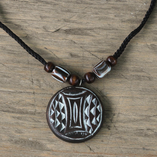 Adjustable Length Wood Pendant Necklace from Ghana 'Culture'