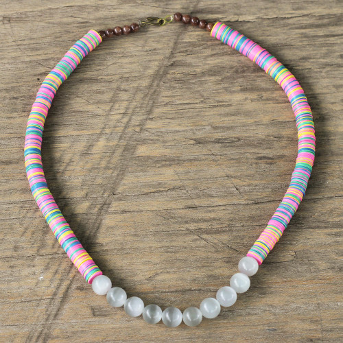 Cat's Eye and Agate Beaded Necklace from Ghana 'Eco Admiration'