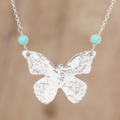 Sterling Silver and Recon. Turquoise Pendant Necklace 'Butterfly Texture'