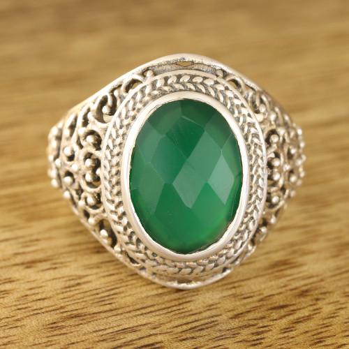 6-Carat Green Onyx Single-Stone Ring from India 'Forest Checkerboard'