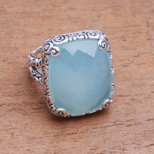 15-Carat Blue Chalcedony Cocktail Ring from Bali 'Buddha's Curl Bliss'